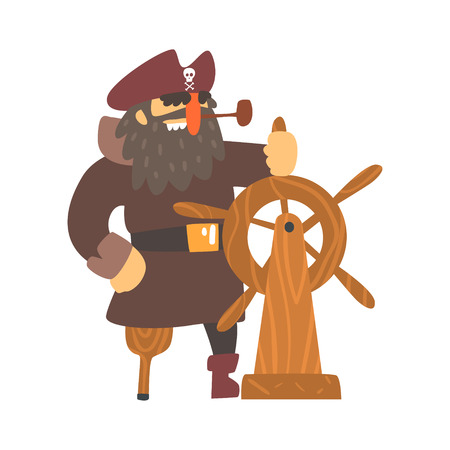 throat: Scruffy Pirate Captain On Wooden Leg With Eye Patch Holding To Stirring Wheel, Filibuster Cut-Throat Cartoon Character. Sea Bandit Muscly And Criminal Man Flat Vector Illustration. Illustration