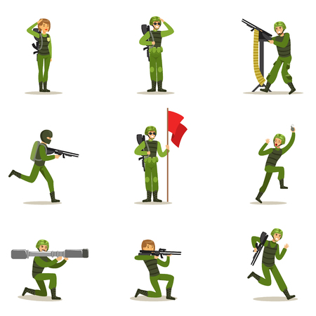 infantryman: Infantry Soldiers In Full Military Khaki Uniform With Guns During War Operation Collection Of Cartoon Land Forces Cartoon Characters