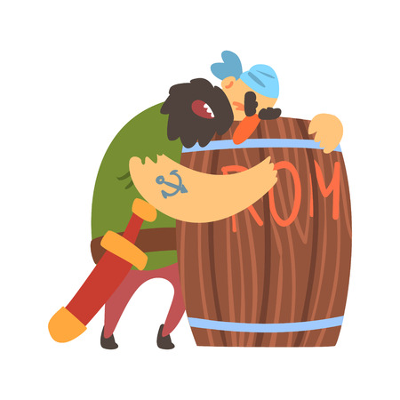 Drunk Scruffy Pirate Huging Wooden Barrel Of Rum, Filibuster Cut-Throat Cartoon Character Illustration