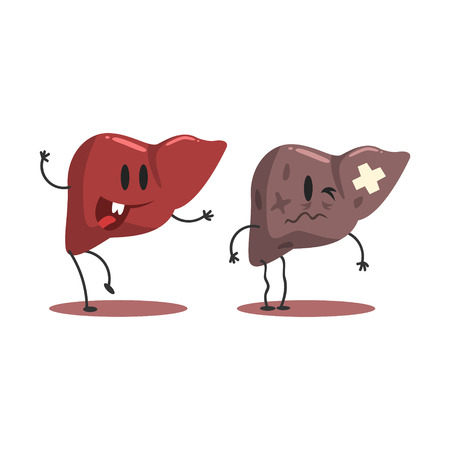 heath: Liver Human Internal Organ Healthy Vs Unhealthy, Medical Anatomic Funny Cartoon Character Pair In Comparison Happy Against Sick And Damaged
