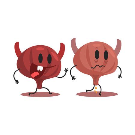 heath: Bladder Human Internal Organ Healthy Vs Unhealthy, Medical Anatomic Funny Cartoon Character Pair In Comparison Happy Against Sick And Damaged