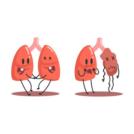폐 인간의 내부 장기 건강 대 건강에 해로운, 해부학 재미 있은 만화 캐릭터 비교에 대 한 쌍 아픈 하 고 손상