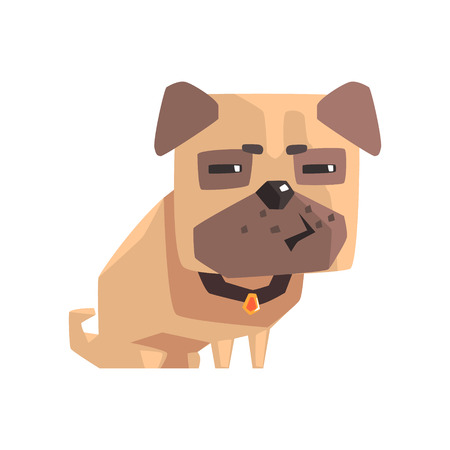 indecisive: Suspicious Little Pet Pug Dog Puppy With Collar Emoji Cartoon Illustration