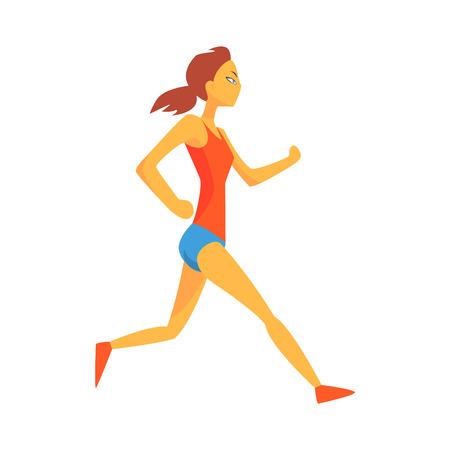 Mujer corriendo lentamente calentamiento, deportista femenina corriendo la pista en rojo arriba y azul corto en competir con la ilustración de la competencia Vectores