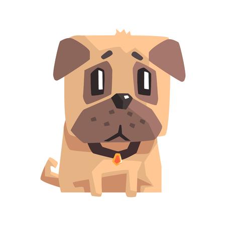 Upset Little Pet Pug Dog Puppy With Collar Emoji Cartoon Illustration Illustration
