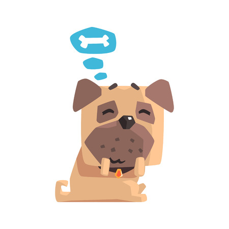 little dog: Little Pet Pug Dog Puppy With Collar Dreaming Of A Bone Emoji Cartoon Illustration