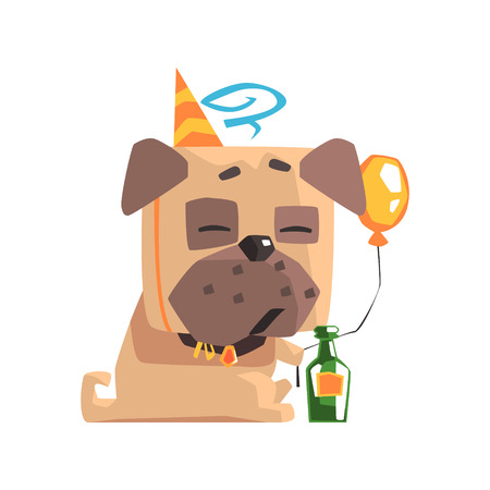 Little Pet Pug Dog Puppy With Collar Having A Birthday Party With Balloon And Champagne Bottle Emoji Cartoon Illustration Illustration