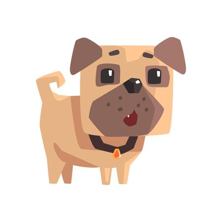 Astonished Little Pet Pug Dog Puppy With Collar Emoji Cartoon Illustration Illustration