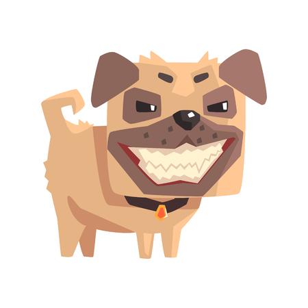 Mischievous Little Pet Pug Dog Puppy With Collar Emoji Cartoon Illustration