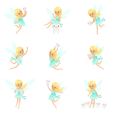 fantastic creature: Tooth Fairy, Blond Little Girl In Blue Dress With Wings And Baby Teeth Set Of Cute Girly Cartoon Fantastic Fairy-Tale Creature