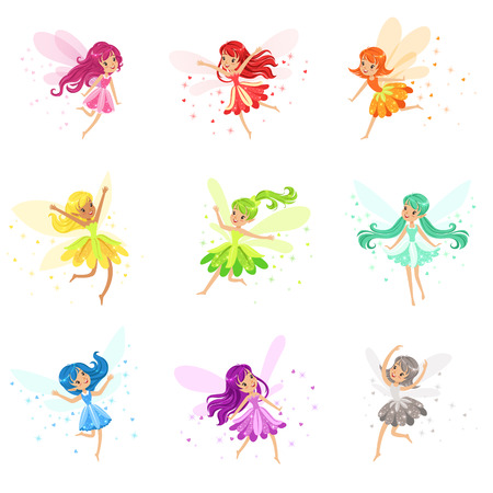 Colorful Rainbow Set Of Cute Girly Fairies With Winds And Long Hair Dancing Surrounded By Sparks And Stars In Pretty Dresses Ilustrace