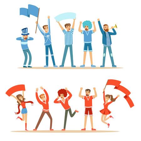 Due gruppi di tifosi di calcio di sport di sostegno Squadre in rosso e blu Travestimenti Gridare e tifo Allo Stadio