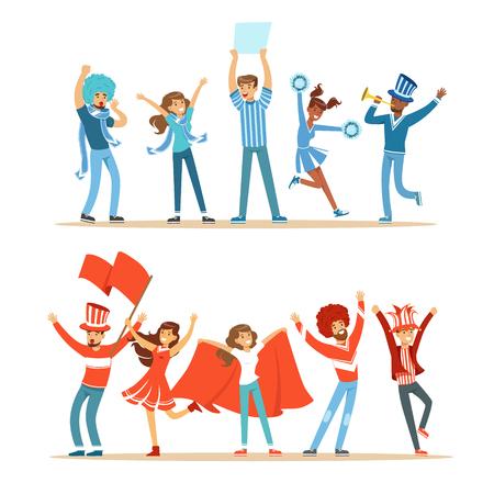 두 그룹의 축구 스포츠 팬들 빨간색과 파란색 의상을 응원 하 고 경기장에서 응원 팀 지원 일러스트