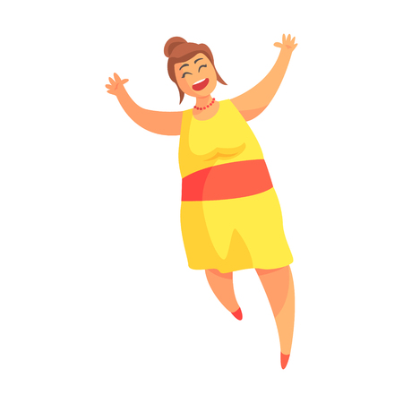 Happy Plus Size Woman In Yellow Summer Dress Running, Enjoying Life, Smiling Overweighed Girl Cartoon Characters Illustration