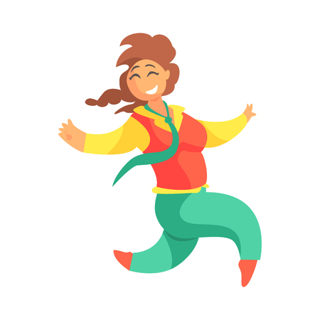 Happy Plus Size Woman In Red Vest And Green Pants With Plat Running, Enjoying Life, Smiling Overweighed Girl Cartoon Characters Illustration