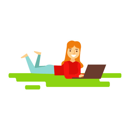Girl Laying On The Grass WIth Lap Top, Person Being Online All The Time Obsessed With Gadget