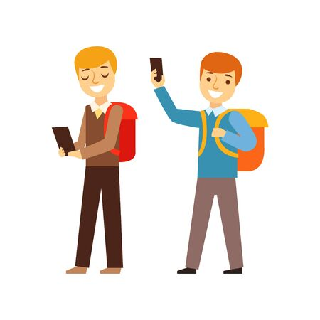 junkie: Two Boys Walking From School With Their Backpacks And Smartphones, Person Being Online All The Time Obsessed With Gadget