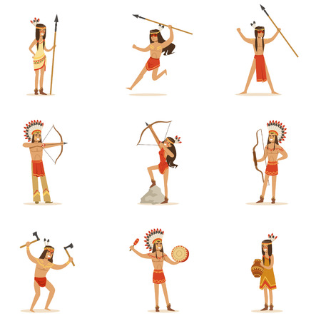 Native American Tribe Members In Traditional Indian Clothing With Weapons And Other Cultural Objects Series Of Cartoon Characters