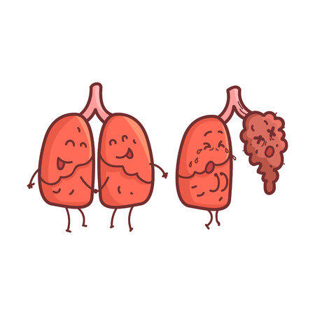 vs: Lungs Human Internal Organ Healthy Vs Unhealthy, Medical Anatomic Funny Cartoon Character Pair In Comparison Happy Against Sick And Damaged