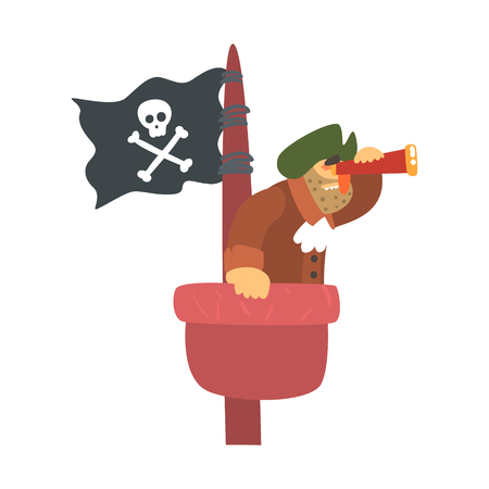 Scruffy Pirate On Mast Lookout With Pirate Flag And Looking Glass, Filibuster Cut-Throat Cartoon Character Illustration