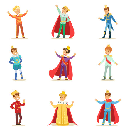 Little Boys In Prince Costume With Crown And Mantle Set Of Cute Kids Dressed As Royals Illustrations. Fairy-tale Stories Heroes Costumes On Small Happy Children Vector Stickers. Stock Illustratie