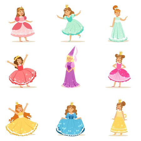 Little Girls In Princess Costume In Crown And Fancy Dress Set Of Cute Kids Dressed As Royals Illustrations. Fairy-tale Stories Heroines Costumes On Small Happy Children Vector Stickers. Illustration