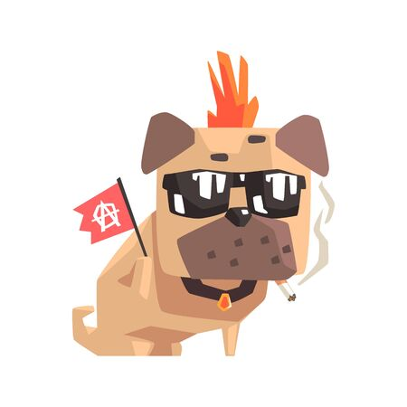 Punk Little Pet Pug Dog Puppy With Collar Smoking And Holding Anarchy Flag Emoji Cartoon Illustration