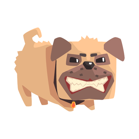 Disheveled Angry Little Pet Pug Dog Puppy With Collar Emoji Cartoon Illustration