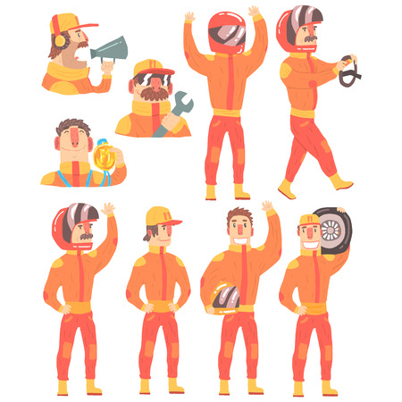 Racing Team Members In Orange Uniform Including Driver and Pit Stop Technicians Team Set of Cartoon Characters.