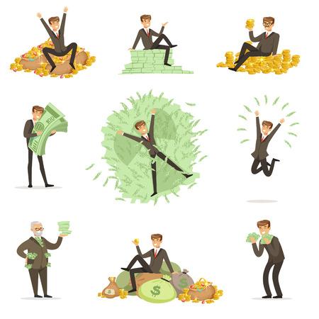Zeer Rijke man baden in Zijn Geld, geld rijk Magnate mannelijke karakter reeks illustraties Vector Illustratie