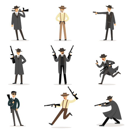 American Mafia Mob Members Of 30s Set Of Cartoon Criminal Mobster Characters Illustration