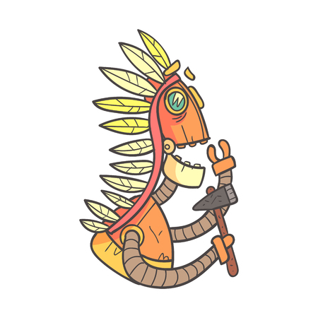 humanoid: Indian Orange Robot In War Bonnet With Tomahawk Cartoon Outlined Illustration With Cute Android And His Emotions. Comic Vector Sticker With Humanoid Artificial Intelligence Character.