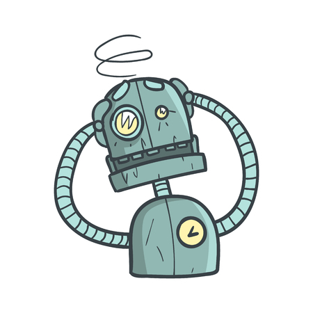 dizzy: Dizzy Blue Robot Cartoon Outlined Illustration With Cute Android And His Emotions