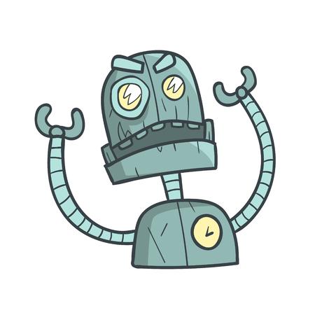 Caricature de robot bleu en colère et agacé décrit l'illustration avec Android mignon et ses émotions
