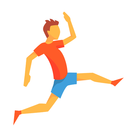 accelerating: Man Accelerating For Triple Jump, Male Sportsman Running The Track In Red Top And Blue Short In Racing Competition Illustration