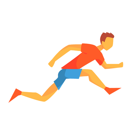 sprinting: Man Sprinting On Short Distance, Male Sportsman Running The Track In Red Top And Blue Short In Racing Competition Illustration