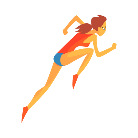 accelerating: Woman Accelerating At Race Start, Female Sportsman Running The Track In Red Top And Blue Short In Racing Competition Illustration. Cartoon Character Runner Training, Fitness And Healthy Lifestyle Related Geometrical Illustration.