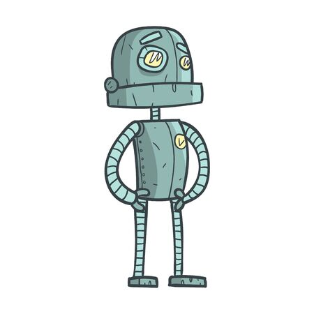 humanoid: Serious And Calm Blue Robot Cartoon Outlined Illustration With Cute robot And His Emotions. Comic Vector Sticker With Humanoid Artificial Intelligence Character.