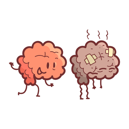 heath: Brain Human Internal Organ Healthy Vs Unhealthy, Medical Anatomic Funny Cartoon Character Pair In Comparison Happy Against Sick And Damaged