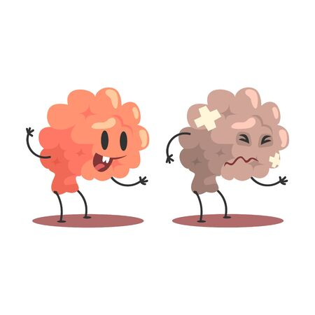 Brain Human Internal Organ Healthy Vs Unhealthy, Medical Anatomic Funny Cartoon Character Pair In Comparison Happy Against Sick And Damaged. Vector Illustration Humanized Anatomic Elements.