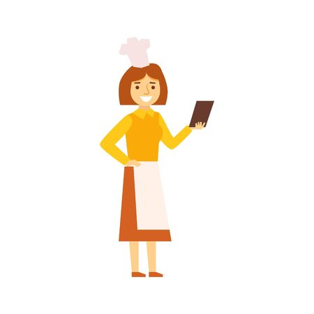 junkie: Woman Cook In Apron Looking For Recepy On Smartphone, Person Being Online All The Time Obsessed With Gadget. Modern Technology Devices And Internet Life Impact Simple Vector Illustration.