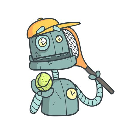 humanoid: Tennis Player Blue Robot Cartoon Outlined Illustration With Cute robot And His Emotions. Comic Vector Sticker With Humanoid Artificial Intelligence Character.