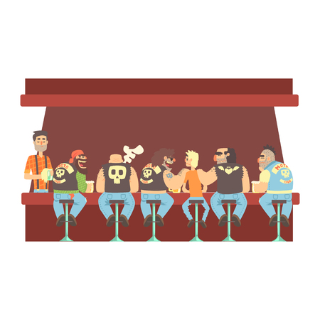 Gang Of Bikers And One Skinny Young Guy Stting At The Counter With Calm Barmen Behind , Beer Bar And Criminal Looking Muscly Men Having Good Time Illustration Illustration