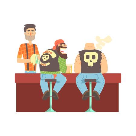 pandilleros: Dos motoristas que charlan en el mostrador de chalecos de cuero y pantalones vaqueros, barra de la cerveza y criminal que mira Muscly hombres que tienen buen tiempo Ilustración