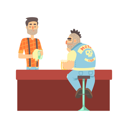 Lonly Biker Gang Member In Jeans Outfit At The Counter With Calm Barman, Beer Bar And Criminal Looking Muscly Men Having Good Time Illustration Illusztráció