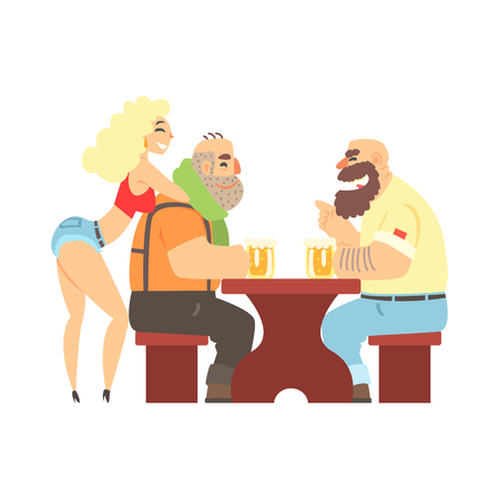 sexy men: Two Lumberjacks Chatting At The Table With Sexy Waitress Leaning At Ones Back, Beer Bar And Criminal Looking Muscly Men Having Good Time Illustration