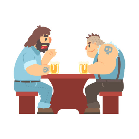 two men talking: Two Gang Members With Tattooes Talking At The Table, Beer Bar And Criminal Looking Muscly Men Having Good Time Illustration