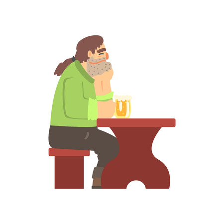 Man With Ponytail Drinking Alone At The Table, Beer Bar And Criminal Looking Muscly Men Having Good Time Illustration