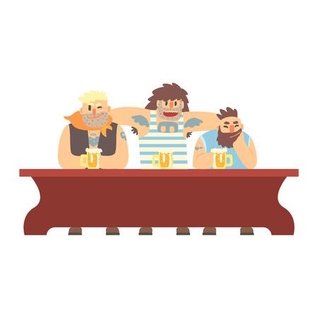 pandilleros: Tres miembros de la cuadrilla con Scull Tatoo que beben en la tabla larga, barra de la cerveza y criminales que miran a hombres Muscly que tienen buena ilustración del tiempo Vectores