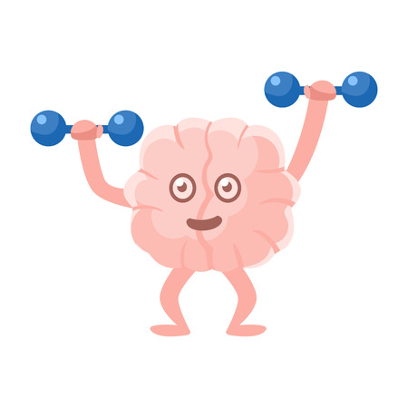 Humanized Brain Working Out In Gym With Dumbbells, Intellect Human Organ Cartoon Character Emoji Icon